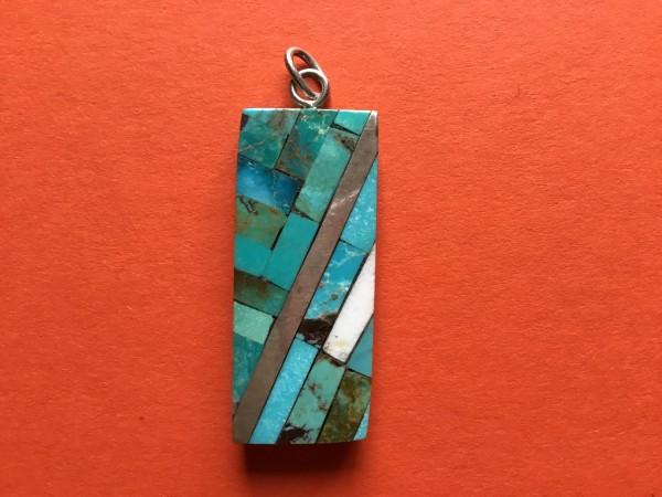 Anhänger mit Mosaic Inlay, Paul Coriz (Kewa) – Anhänger mit Mosaic Inlay, Indianer - Schmuck und Kunsthandwerk - prairie wind