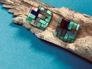 Charlene Reano (Kewa) – Ohrstecker mit Mosaic Inlay