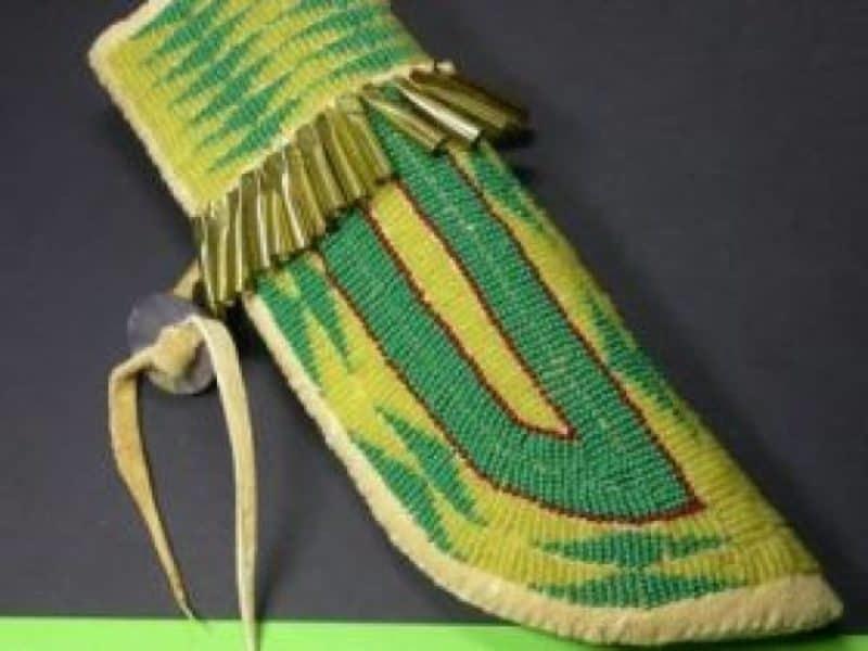 , Diana Passmore (Blackfeet) – grüne Messerscheide, Indianer - Schmuck und Kunsthandwerk - prairie wind