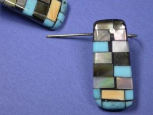 Charlene Reano (Kewa) - Mosaic Inlay auf Muschel - Ohrring